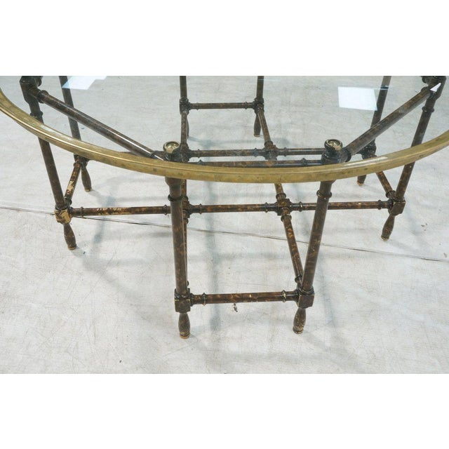 Image of Baker Brass & Glass Tray Top Faux Wood Bamboo Coffee Table, Circa 1960