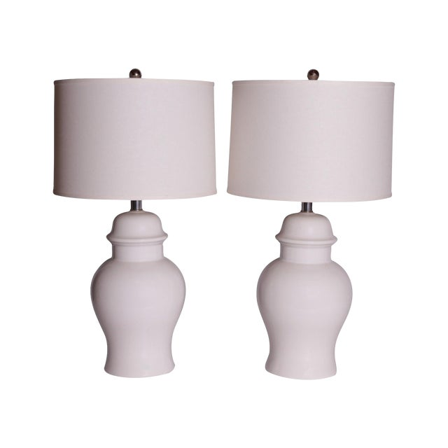 Vintage White Ginger Jar Lamps - A Pair - Image 1 of 5
