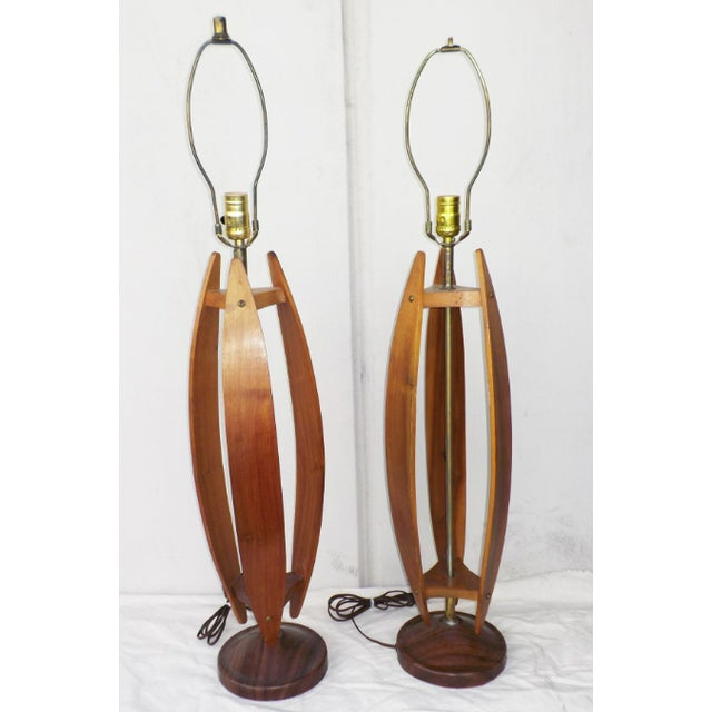 Image of Mid-Century Wood & Brass Minimalist Lamps - a Pair