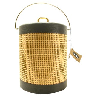 Mid-Century Modern Cane & Brass Ice Bucket, C. 1960