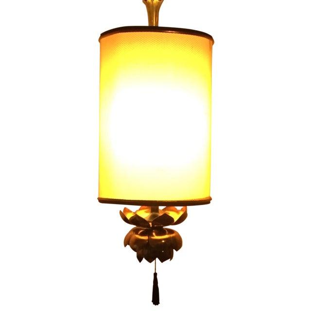 Feldman Brass Lotus Flower Hanging Drum Lamp - Image 1 of 8
