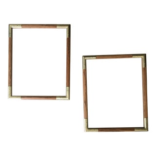 "Mid-Century Wood & Brass 8"" x10"" Frames - A Pair"