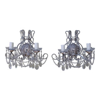 Silver Crystal Beaded Sconces - a Pair