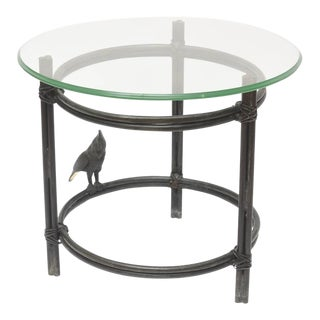 Maitland-Smith Bronze & Glass Side Table