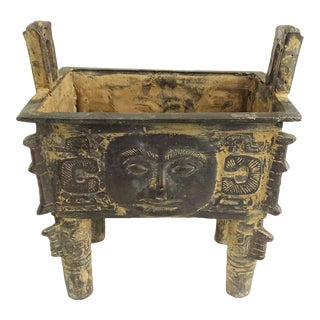 Shang Dynasty Style Chinese Bronze Fangding Vessel
