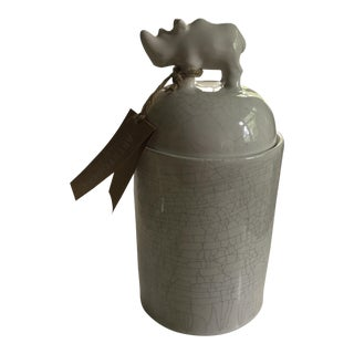 Rhinoceros Crazed Ceramic Canister