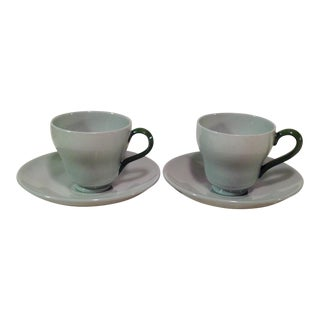 Wedgwood Mid-Century Celadon Cups & Saucers- A Pair