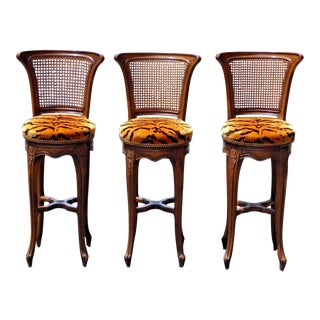 Vintage French Country Wood & Cane Barstools - Set of 3