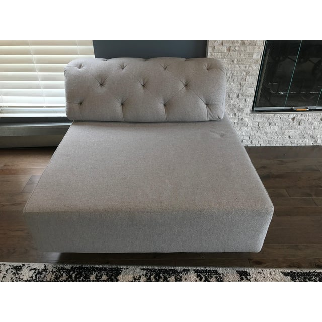 West Elm Tufted Gray Sectional - Image 5 of 5