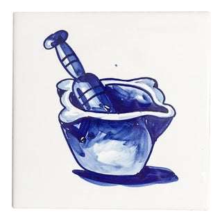 Vintage Spanish Delft Mortar & Pestle Tile