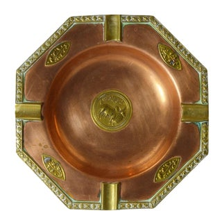 Mid Century Brass And Copper Ashtray Catchall
