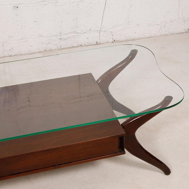 Vladimir Kagan Walnut Glass Coffee Table Chairish