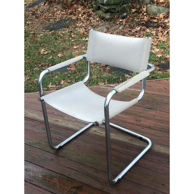 Vintage Mart Stam Breuer Style Tubular Chrome & Gray Leather Chair - Image 3 of 11