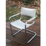 Image of Vintage Mart Stam Breuer Style Tubular Chrome & Gray Leather Chair