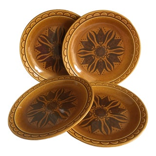 Mid-Century Stoneware Dinner Plates - Set of 4
