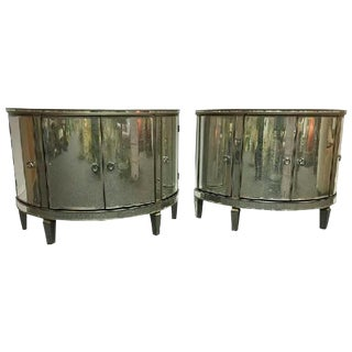PAIR OF CUSTOM-MADE DEMILUNE MIRRORED COMMODES