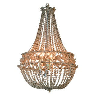 French Beaded Basket Form Chandelier
