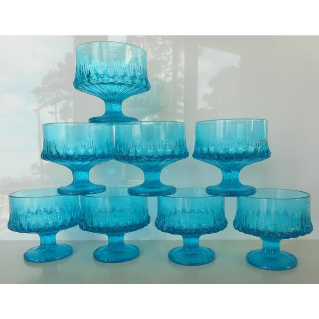 Vintage Turquoise Blue Textured Glass Sherbets - Set of 8 - Image 2 of 7