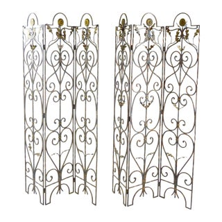 Vintage Scrolled Iron Screens - A Pair