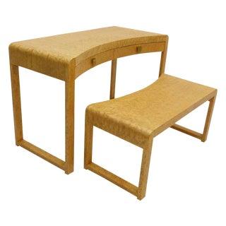 Birds Eye Maple Burl Wood Desk & Bench