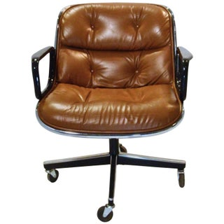Vintage Charles Pollack Leather Upholstered Executive Armchair for Knoll