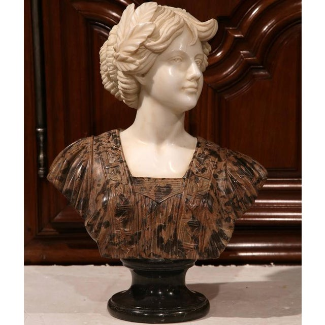 Large 19th Century Italian Carved Marble Bust of Young Lady by Goose - Image 2 of 7