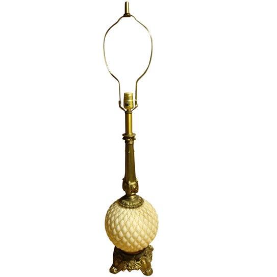 Hollywood Regency Glass Pineapple Lamp - Image 1 of 7