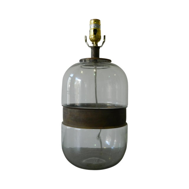 Glass Lamp With Metal Ring - Image 1 of 4