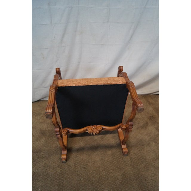 Quality Renaissance Style Carved Frame Arm Chair - Image 10 of 10