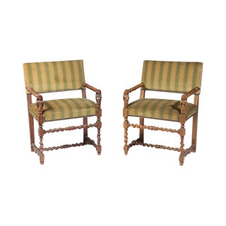Antique French Figural Carved Armchairs - A Pair