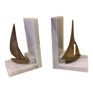 Hollywood Regency Marble & Brass Sailboat Bookends - A Pair