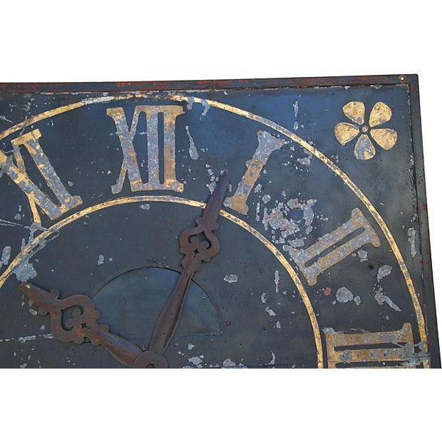 Large Antique French Iron & Gilt Tower Clock Face - Image 3 of 7