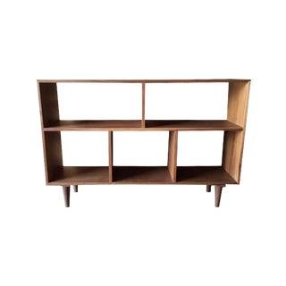 Custom Mid Century Style Walnut Book Record Shelf