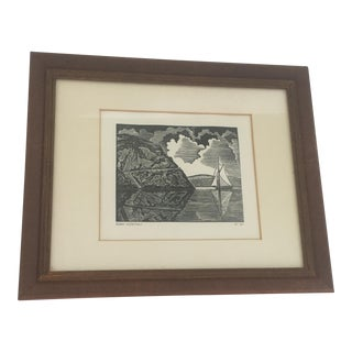 """Hudson Reflections"" Woodcut Framed Print"