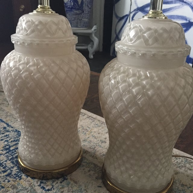White Glass Quilted Ginger Jar Lamps - A Pair - Image 11 of 11