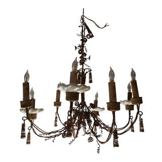 Napoleon III Iron Wire Work 8 Light Chandelier