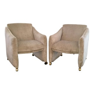 Pair of Milo Baughman Lounge Chairs on Casters Newly Upholstered in Velvet