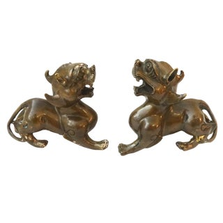 Bronze Fortune Foo Dogs - A Pair