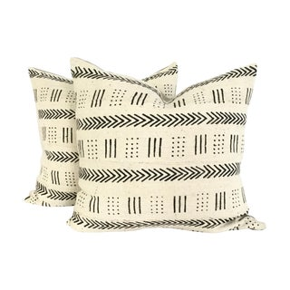 Mud Cloth Black and Ivory Pillows - A Pair