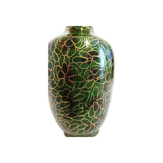 Vintage Chinese Cloisonné Black & Green Vase - Image 3 of 4