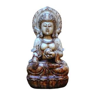 Vintage Hand Crafted Natural Jade Stone Kwan Yin Bodihsattva Statue