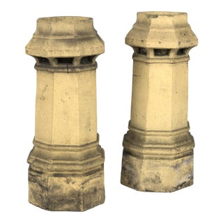 Pair of Octagonal Terra Cotta Chimney Pots, English Circa 1850
