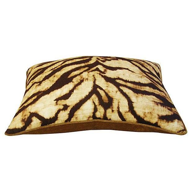 Schumacher Tiger Linen/Scalamandre Velvet Pillow - Image 4 of 4