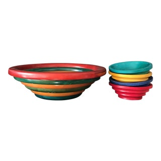 Manzom Vietri Wood Salad Bowls - Set of 4