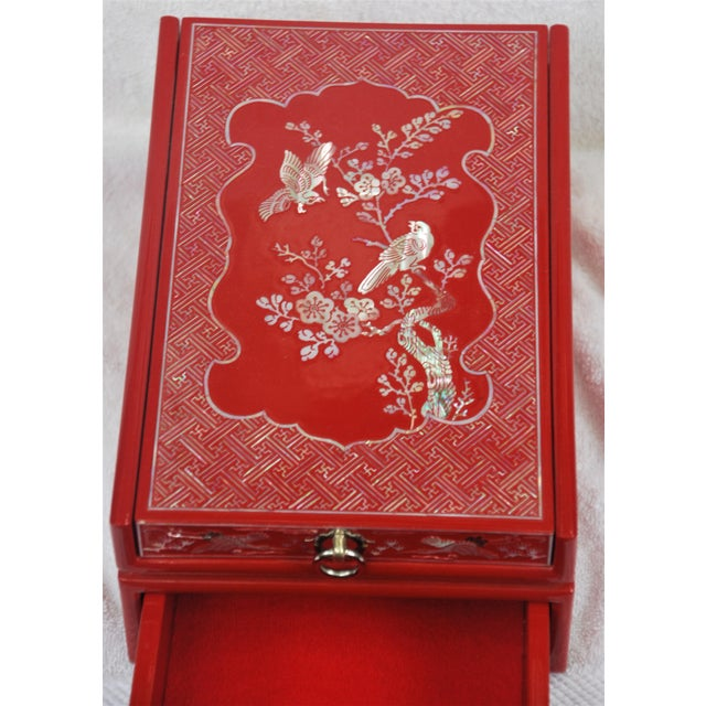 Red Lacquered Asian Jewelry Box - Image 8 of 9
