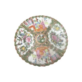 Hand Painted Fluted Rose Medallion Plate