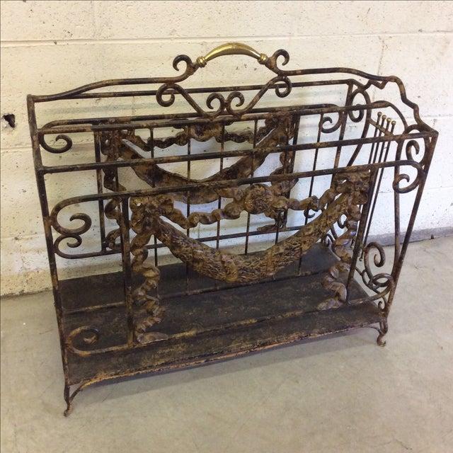 Image of Ornate Lyre Iron Magazine Rack