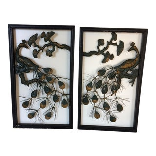 Vintage Peacock Hanging Wall Art - A Pair