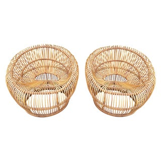 Rattan Bucket Chairs by Franco Albini - A Pair