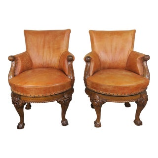 Pair of George II Style Walnut Leather Upholstered Swivel Chairs
